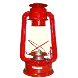 Plechová petrolejová lampa 30 cm (červená)