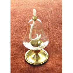 Dekorativní petrolejová lampa s mosazným stojanem (zvonek)
