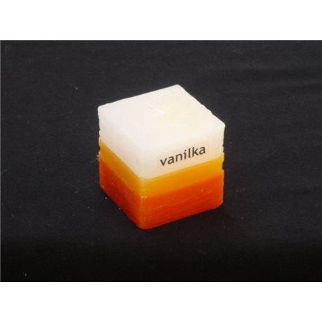 Svíčka kostička tříbarevná Vanilka